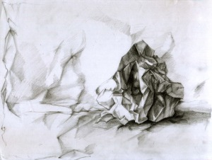 """crumpled paper-drawing"" by Immortelle"