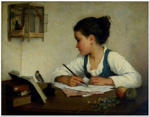 """A Girl Writing"" by Henriette Browne"