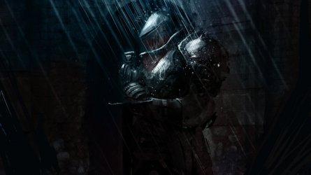"""knight in the rain"" by Vladimir Buchyk"