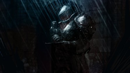 """knight in the rain"" by Vladimir Buchyk"