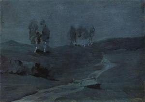 """Shadows. Moonlit Night."" by Isaac Levitan"