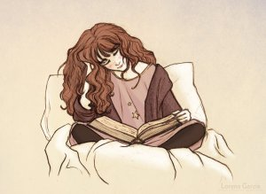 """Hermione Reading before Bed"" by Lincevioleta"